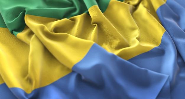 Bandiera del gabon increspato splendente ondeggiare macro close-up shot