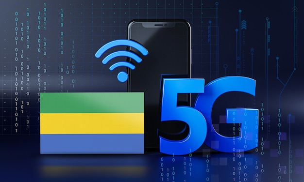 5g接続コンセプトのガボン対応。 3dレンダリングスマートフォン技術の背景