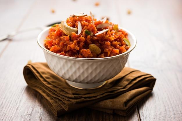 Gajar ka halwa is a carrotbased sweet dessert pudding from india