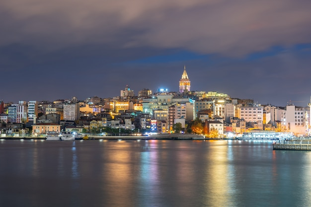 Galata tower at night with istanbul city in istanbul, turkey