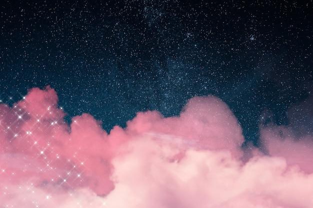 Фон галактики с сверкающими облаками