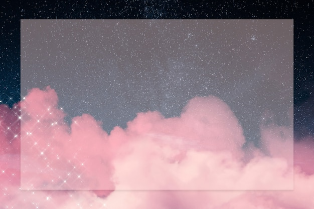 Galaxy frame with sparkling pink cloud