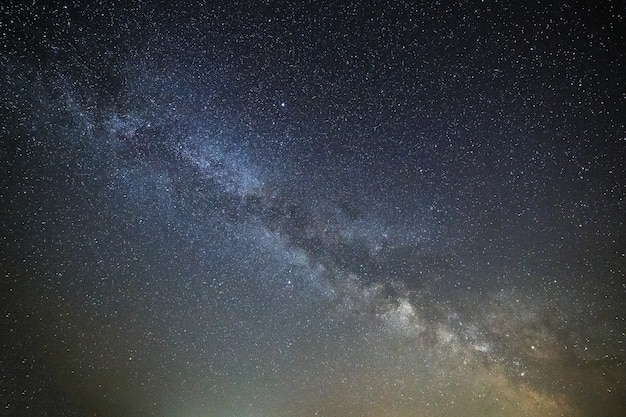 Galaxy milky way in the night sky with bright stars. astrophotography of outer space.