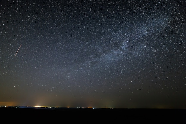 Galaxy milky way in the night sky with bright stars