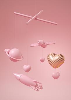 ピンクのギャラクシーテーマベビーベッドモバイル