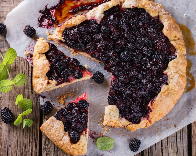 Galette with blackberries.