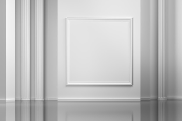 Gallery interior wall with empty picture frame
