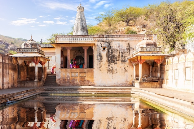 The galta kund in the monkey temple, famous pilgrim centre of jaipur, rajasthan, india.