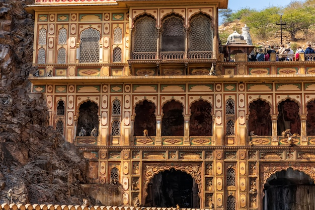 Galta temple in monkey temple complex, detailed facade view, india, jaipur.