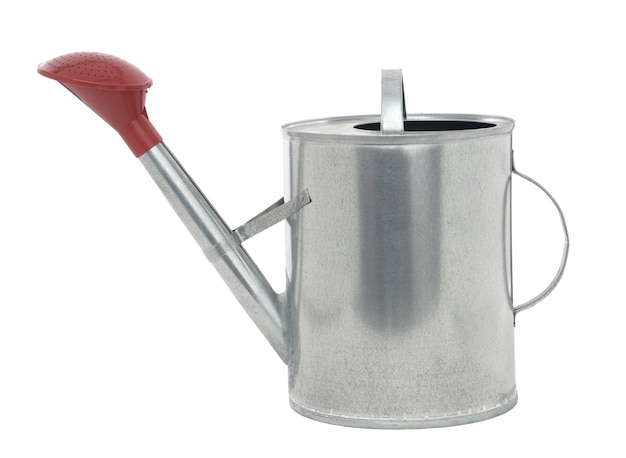 Galvanized garden watering can watering can isolated on white