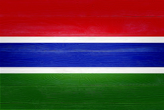 Gambia flag painted on wooden planks