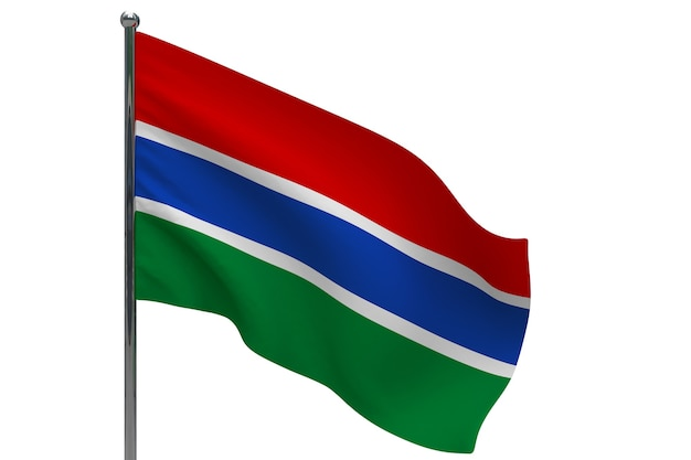 Gambia flag on pole. metal flagpole. national flag of gambia 3d illustration on white