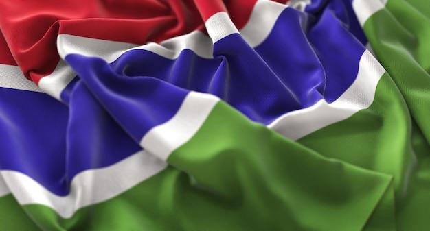 La bandiera del gambia increspato splendidamente salendo macro close-up shot