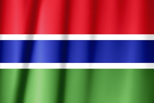 Gambia flag on satin texture.