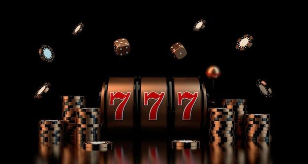 Gambling concept with dice casino chips slot d rendering