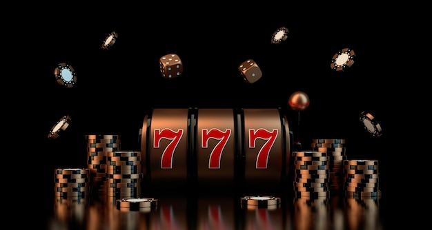 サイコロカジノチップスロットdレンダリングによるギャンブルの概念