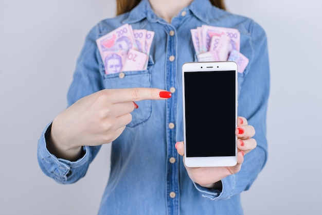 Gambling internet traffic pay winner transaction provider customer store win user job work buy bill media people person concept. cropped close up photo of lady's hand with phone isolated surface