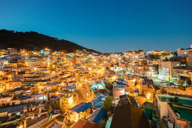 Gamcheon culture village at night in busan, south korea.