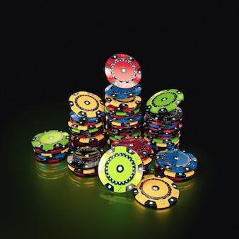 緑の背景にゲームチップ。ギャンブルの概念。 3dレンダリング