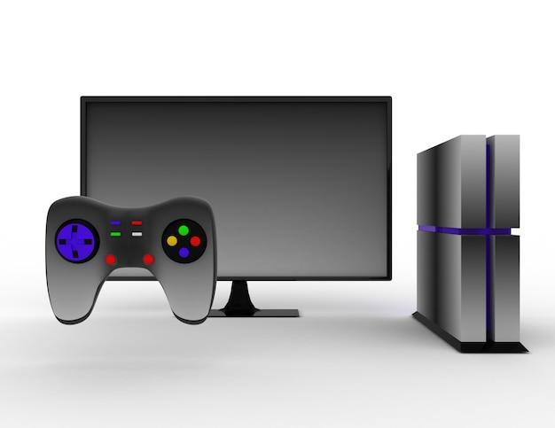Игровая приставка с тв. 3d визуализированная иллюстрация