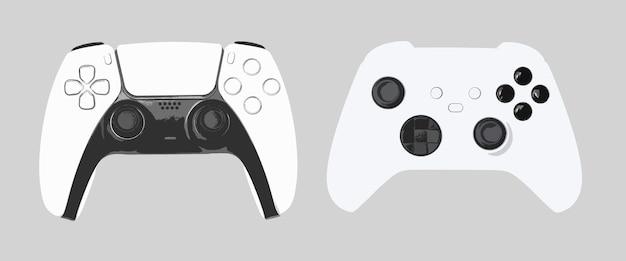 회색 배경에 게임 컨트롤러 그림