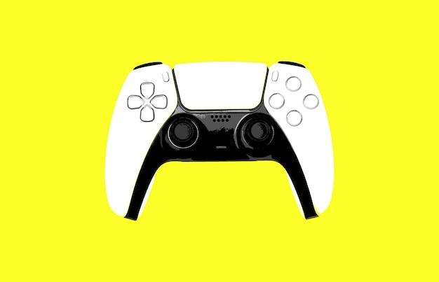 노란색 배경에 게임 컨트롤러 그림