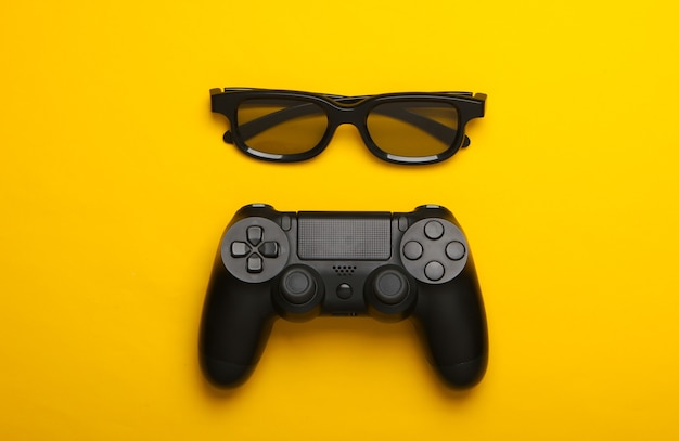 ゲームパッド、黄色の3dメガネ