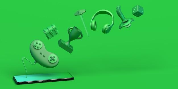 Концепция геймера со смартфоном контроллер игровой консоли кости наушники сундук джойстик 3d иллюстрация