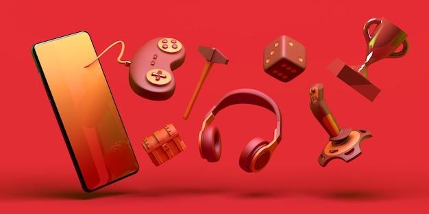 Концепция геймера со смартфоном контроллер игровой консоли кости наушники джойстик 3d иллюстрация