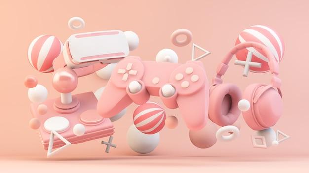 3dレンダリングのピンクのゲーマー機器