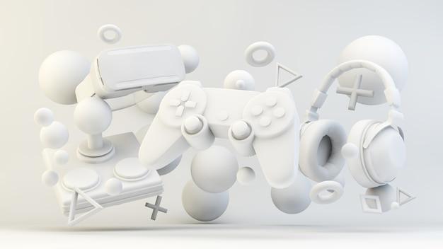 3dレンダリングの概念で白のゲーマー機器