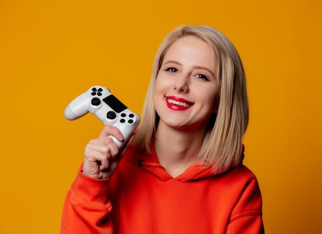 Gamer girl with white gamepad