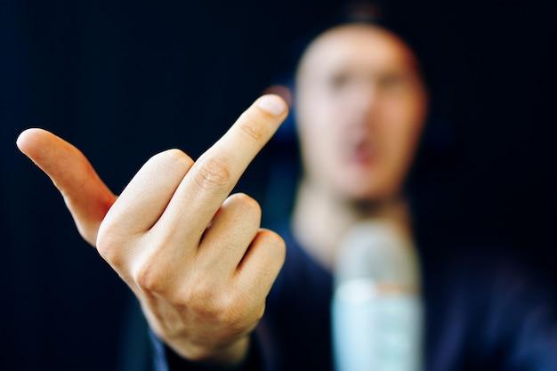 Gamer shows middle finger gesture