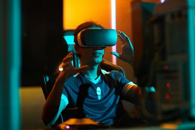 Gamer using virtual reality simulator
