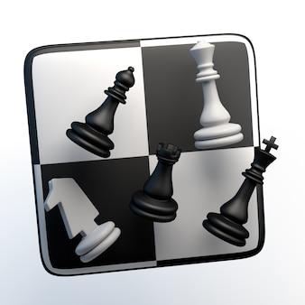격리 된 흰색 바탕에 체스 조각이 있는 게임 아이콘. 3d 그림입니다. 앱.