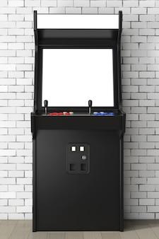 Игровой автомат с пустым экраном для вашего дизайна перед кирпичной стеной. 3d-рендеринг.