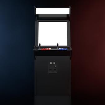 Игровой автомат с пустым экраном для вашего дизайна в цветном объемном свете на черном фоне. 3d рендеринг