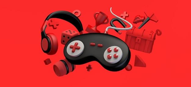 Концепция игры плавающий геймпад со шлемами, нагрудный приз, алмаз, 3d-иллюстрация