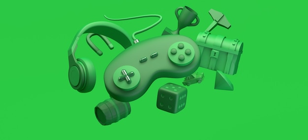 Gaming concept floating gamepad with helmets chest prize diamond game elements