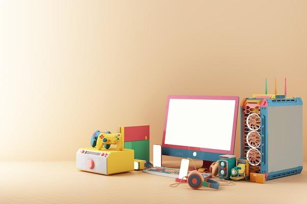 Игровая концепция. геймпад и сотовый телефон с громкой связью игровая консоль vr компьютерный корпус и экран с минималистичным модным дизайном в ярких пастельных тонах. 3d рендеринг