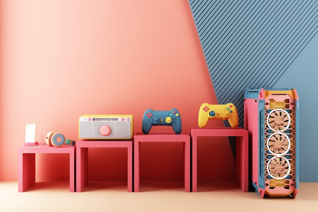Gaming concept. gamepad and cell phone with speaker phone and computer case minimal trendy design colorful pastel.  3d rendering