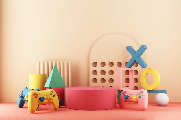 Gaming concept. gamepad and vr with video game console and minimal trendy design colorful pastel.  3d rendering
