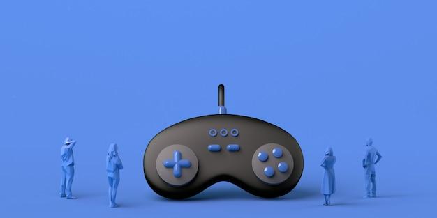 Игровая концепция. гигантский геймпад наблюдали люди. баннер. приложение. скопируйте пространство.