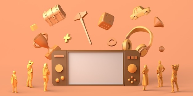 Игровая концепция гигантский геймпад с гарнитурой и сундуком на глазах у людей 3d-иллюстрация