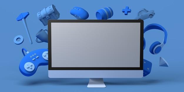 Игровая концепция с компьютером контроллер игровой консоли кости наушники грудь мышь 3d иллюстрация