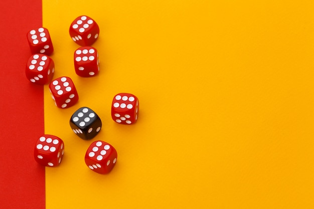 Gaming dice on color background