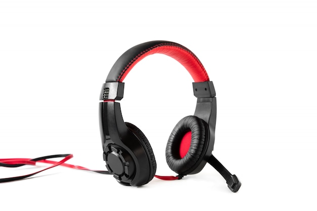 Gaming headphones in black and red with a wire