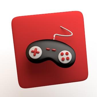 Игровой значок с контроллером игровой консоли, изолированные на белом фоне. приложение. 3d иллюстрации.