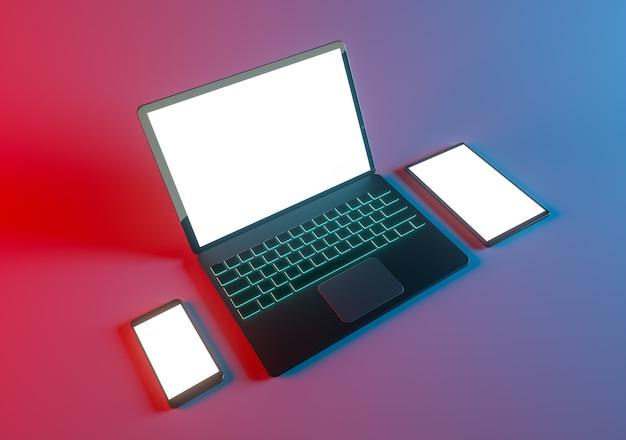 Игровой ноутбук, телефон и планшетный макет d рендеринга