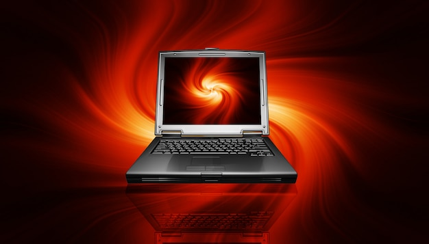 Gaming pc laptop on fiery design